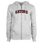 ENZA Ladies White Fleece Full Zip Hoodie-Gators