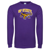 Purple Long Sleeve T Shirt-Primary Mark Distressed