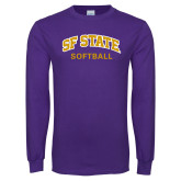 Purple Long Sleeve T Shirt-Softball