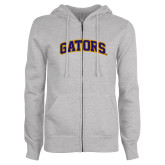 ENZA Ladies Grey Fleece Full Zip Hoodie-Gators