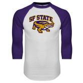 White/Purple Raglan Baseball T Shirt-Primary Mark