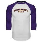 White/Purple Raglan Baseball T Shirt-San Francisco State