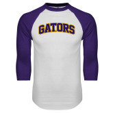 White/Purple Raglan Baseball T Shirt-Gators