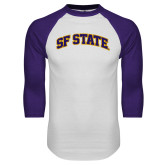 White/Purple Raglan Baseball T Shirt-SF State