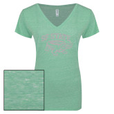 ENZA Ladies Seaglass Melange V Neck Tee-Primary Mark White Soft Glitter