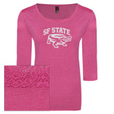 Ladies Dark Fuchsia Heather Tri Blend Lace 3/4 Sleeve Tee-Primary Mark White Soft Glitter