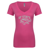 Next Level Ladies Junior Fit Ideal V Pink Tee-Primary Mark White Soft Glitter