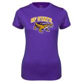 Ladies Syntrel Performance Purple Tee-Primary Mark