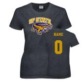 Ladies Dark Heather T Shirt-Primary Mark, Custom Tee w/ Name and #
