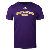 Adidas Purple Logo T Shirt-San Francisco State