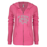 ENZA Ladies Hot Pink Light Weight Fleece Full Zip Hoodie-Primary Mark White Soft Glitter