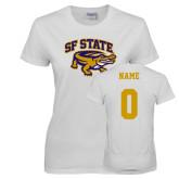 Ladies White T Shirt-Primary Mark, Custom Tee w/ Name and #
