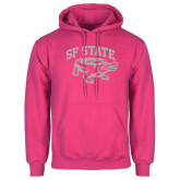 Fuchsia Fleece Hoodie-Primary Mark White Soft Glitter
