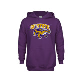 Youth Purple Fleece Hoodie-Primary Mark