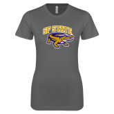 Ladies SoftStyle Junior Fitted Charcoal Tee-Primary Mark