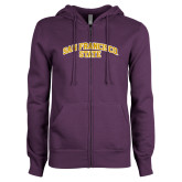 ENZA Ladies Purple Fleece Full Zip Hoodie-San Francisco State