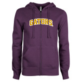 ENZA Ladies Purple Fleece Full Zip Hoodie-Gators