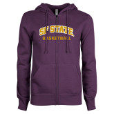 ENZA Ladies Purple Fleece Full Zip Hoodie-Basketball