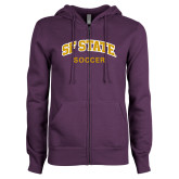 ENZA Ladies Purple Fleece Full Zip Hoodie-Soccer