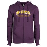 ENZA Ladies Purple Fleece Full Zip Hoodie-Track and Field
