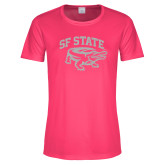 Ladies Performance Hot Pink Tee-Primary Mark White Soft Glitter