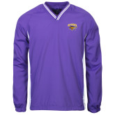 Colorblock V Neck Purple/White Raglan Windshirt-Primary Mark