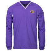 Colorblock V Neck Purple/White Raglan Windshirt-Primary Mark