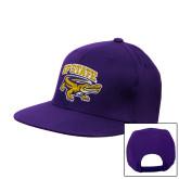 Purple Twill Flat Bill Snapback Hat-Primary Mark