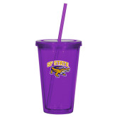 Madison Double Wall Purple Tumbler w/Straw 16oz-Primary Mark