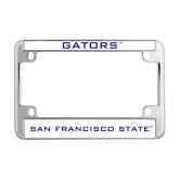 Metal Motorcycle License Plate Frame in Chrome-Gators
