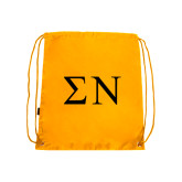 Gold Drawstring Backpack-Greek Letters