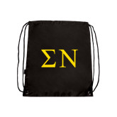 Black Drawstring Backpack-Greek Letters