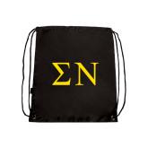 Nylon Black Drawstring Backpack-Greek Letters