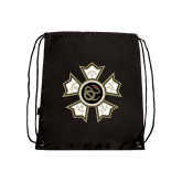 Black Drawstring Backpack-Badge
