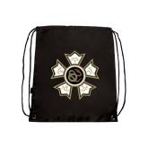Nylon Black Drawstring Backpack-Badge