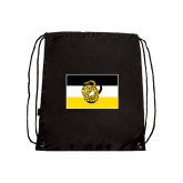 Black Drawstring Backpack-Sigma Nu Flag