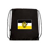 Nylon Black Drawstring Backpack-Sigma Nu Flag