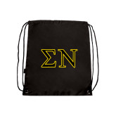 Black Drawstring Backpack-Greek Letters w/ Trim