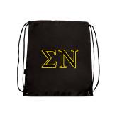 Nylon Black Drawstring Backpack-Greek Letters w/ Trim
