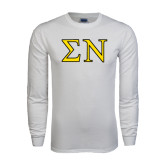 White Long Sleeve T Shirt-Greek Letters w/ Trim