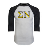 White/Black Raglan Baseball T-Shirt-Greek Letters w/ Trim
