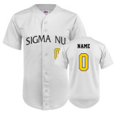 Replica White Adult Baseball Jersey-Sigma Nu Personalized