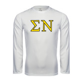 Syntrel Performance White Longsleeve Shirt-Greek Letters w/ Trim