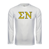 Performance White Longsleeve Shirt-Greek Letters w/ Trim