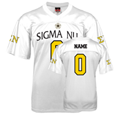 Replica White Adult Football Jersey-Sigma Nu Personalized