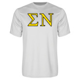 Performance White Tee-Greek Letters w/ Trim