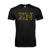 Next Level SoftStyle Black T Shirt-Greek Letters w/ Trim