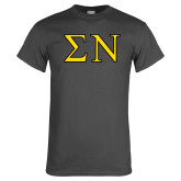 Charcoal T Shirt-Greek Letters w/ Trim