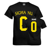 Black T Shirt-Sigma Nu Custom Tee w/ Name and Number