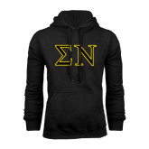 Black Fleece Hoodie-Greek Letters w/ Trim